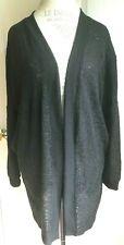 Silence + Noise Black Open Thin Sheer Tunic Cardigan Sweater w/Pockets Size M