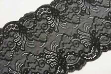 2m hochwertig schwarze elastische Spitze 15cm breit