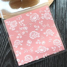 Plastic Resealable Biscuit Bags Rosebush Self-Adhesive About 100pcs