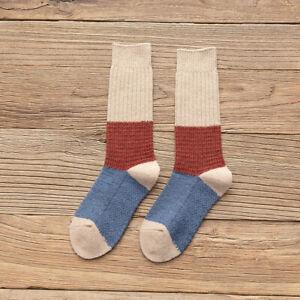 1 Pair Women Floral Stripe Long Socks Patchwork Casual Crew Socks Comfortable