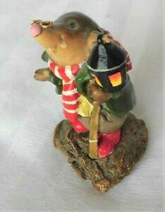 WEE FOREST FOLK mini MOLE figurine wire glasses LANTERN  AP Annette Peterson '92