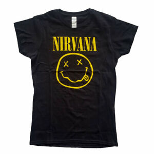 Nirvana Yellow Smiley Official Women's Black T-Shirt