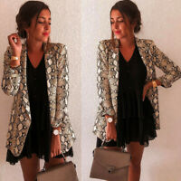 Women Snake Print Long Sleeve Suit Coat Blazer Biker Jacket Outwear Tops Skirts