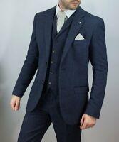 Mens Cavani Martez Navy 3 Piece Tweed Herringbone Suit Peaky Blinders Weddings