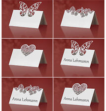 10 edle Tischkarten Platzkarten Hochzeit weiss Lasercut *NEU*