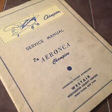 Original  Aeronca Champion 7A Service Manual by Westair