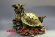 Chinese Fengshui Brass Wealth yuanbao Money Coins Dragon Turtle Tortoise Statue