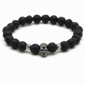 1 Pc Unisex Black Beads Natural Stones Skull Bracelet Lava Stone Bracelet