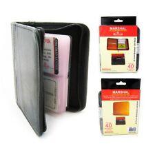 2 Business Card Holder Credit Card Id Genuine Leather Zipper Black Book Wallet !