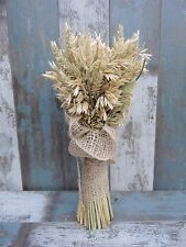 """Wedding Dried Flowers Wheat & Oat Sheaf Harvest Rustic Bouquet with Burlap 17"""""""