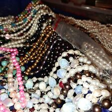 Box of mixed beads, faux pearls, new and used