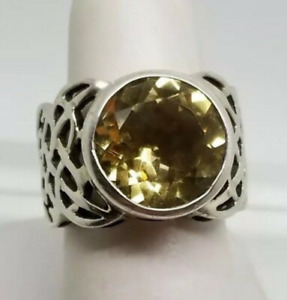 SILPADA 925 Sterling Silver Celtic Open Weave Citrine Ring R1425 Size 8