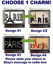 Paris word w Eiffel Tower Logo Custom Italian Charm France