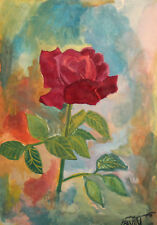 VINTAGE IMPRESSIONIST GOUACHE PAINTING STILL LIFE WITH ROSE SIGNED