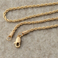 18K Yellow Gold Plated Mens Necklace Solid Cuban Curb Chain Jewelry