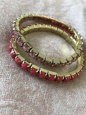 Gold Tone Bracelets 2 Rhinestone Bead Stretch