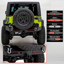 Crawler Rear Bumper+Tire Carrier+2x RED LED Taillight for 07-18 Jeep JK Wrangler