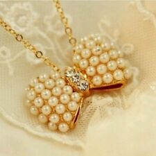 #7023 Fashion Small Bow Imitation Pearl Inlay Diamond Necklace Collarbone Chain