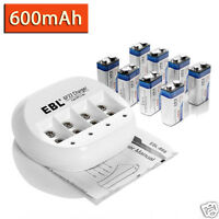 8 x EBL 9V Rechargeable Battery + Charger for Li-Ion Ni-MH 9 Volt Batteries