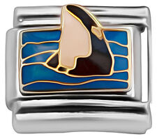 Italian charm Whale in the sea 9mm classic link    (BB25)