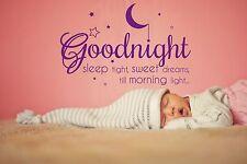 Goodnight Wall Sticker Nursery Children's Room Sweet Dreams Vinyl Decal Stencil