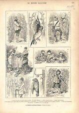 Chasse Piège La Tenderie aux Grives en Ardennes Pose des Lacets GRAVURE 1882
