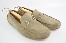 GUCCI DRIVING MOCCASINS HORSE BIT LOAFERS SUEDE LEATHER SHOES SZ 14.5 G