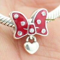 925 Sterling Silver Disne Park Charm Minnie Bow Red Enamel Fit European Bracelet