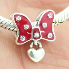 925 Sterling Silver Disne Park Charm Minnie Bow Red Enamel Fit European Bracelet