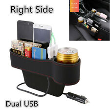 Universal Car Seat Gap Storage Box Crevice Organizer Pocket Dual USB Cup Holder