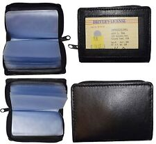 Business card case, Zip around Leather credit card photo ID holder 30 slot case.