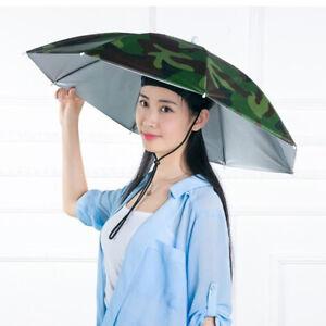 Sun Umbrella Hat Outdoor Foldable Head Strap Golf Fishing Camping Headwear Cap