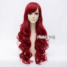 For Poison Ivy Wine Red Long 80CM Curly Anime Cosplay Wig + Wig Cap