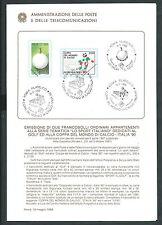 1988 ITALIA BOLLETTINO ILLUSTRATIVO N. 10 GOLF E MONDIALI DI CALCIO ITALIA 90