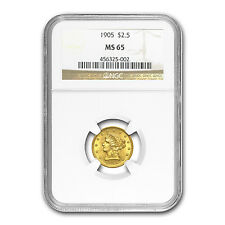 $2.50 Liberty Gold Quarter Eagle Coin - MS-65 NGC or PCGS - SKU #22170
