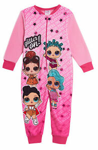 Girls LOL Surprise Dolls Fleece All In One Pyjamas Onezee Character Sleepsuit