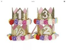 BABY GIRLS 1 st 2nd 3rd BIRTHDAY CROWN CAKE  SMASH PHOTOSHOOT PARTY CROWN