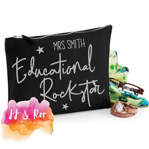 Personalised Teacher Gift: Educational Rockstar Accessory Bag/Pencil Case