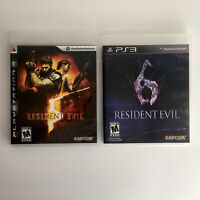 Resident Evil 5 & Resident Evil 6 Complete Tested Lot Of 2 Playstation 2 PS3 Gam