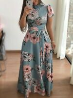 Women's Summer Boho Floral Strappy Maxi Dresses Lady Holiday Party Evening Dress