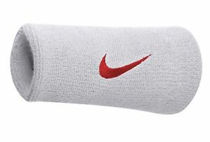 """NIKE Dri-FIT Double Wide 5.25"""" 2-Pack Wristbands White Red Tennis Basketball"""