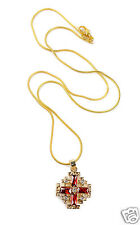 Gold Plated Jerusalem Cross Pendant Necklace Red Garnet and Zircon Gems 0.7""