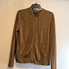 Talbots Womens Sz S Brown Zip Up Jacket Athletic Long Sleeve