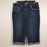 Earl Jean's Women's Capri Short Pants Size 8P Blue Denim Stretch D3