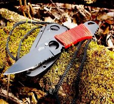 SURVIVAL Neck Knife With Boot Clip & Sheath CAMPING Hunting Outdoors Serrated