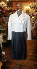 Vintage 1960's Black and White Leather Mod Coat * Rare! * Extra Small - Small