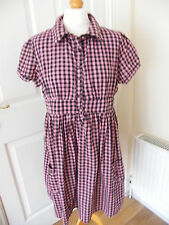 PRIMARK DRESS SIZE 8 BLACK & PINK CHECK GINGHAM HIP POCKETS VCG KITSCH DRESS