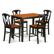 5 Pc Counter Height Table and Chair Set-High Top Table and 4 Bar Stools W/Backs