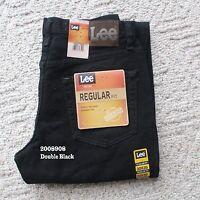 NWT LEE MEN'S REGULAR FIT Straight Leg Jeans Denim Double Black 2008908 All Size