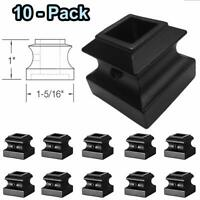 """Flat Shoes for 1/2"""" Stair Metal Balusters (10-Pack) With Screw (Satin Black)"""